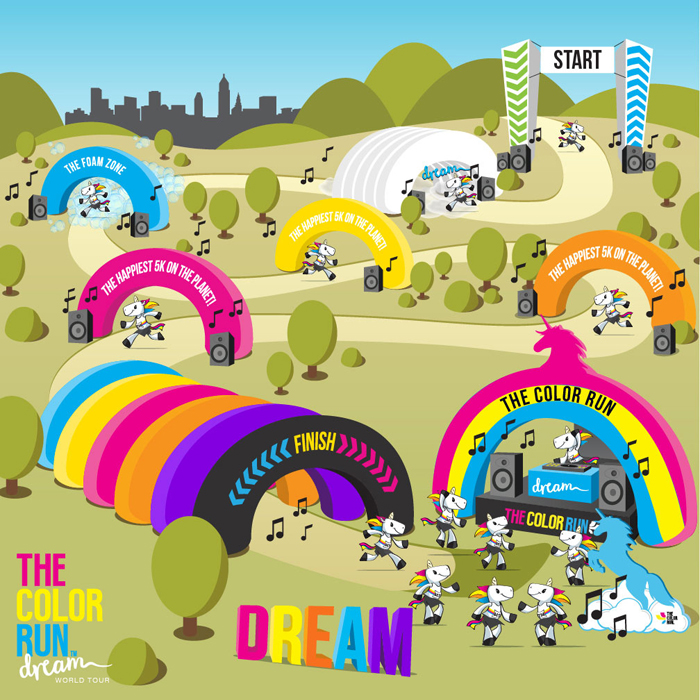 THE COLOR RUN GIVEAWAY TOUR MAP